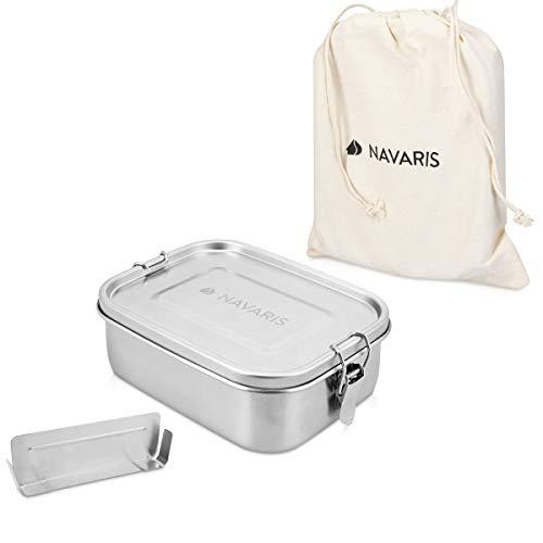 Navaris Boîte Repas Acier - Boîte à Repas hermétique 100% INOX avec Compartiment - Bento Box Anti Fuite avec loquet - Lunch Box sans BPA 800 ML