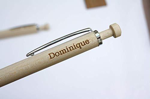Stylo personnalisé gravé avec votre prénom, initiales, date, cadeau unique, gravure du texte sur mesure, bois clair