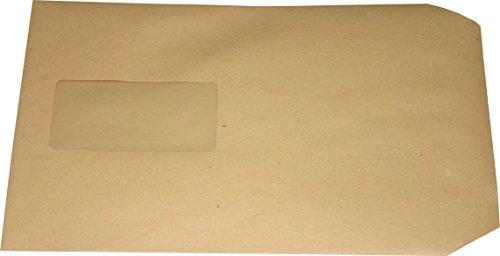 100 Stück Versandtaschen Briefumschlag C5 A5 braun selbstklebend mit Fenster 229x162 mm SK