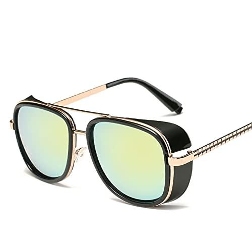 SLAKF Gafas de Sol Gafas de Sol Retro de los Hombres (Lenses Color : 9 XY62 C7)