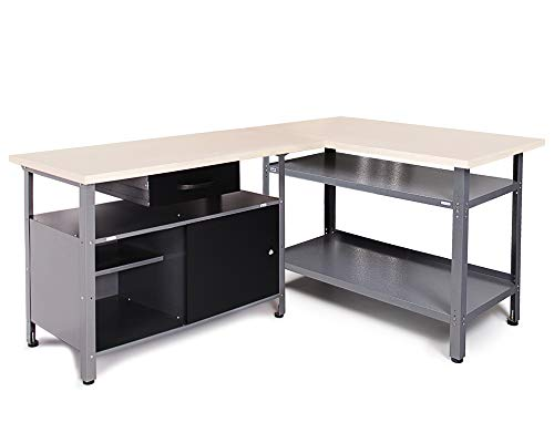 Ondis24 Werkstatt-Set Ecklösung Sparfuchs, 2x Werkbank aus Metall, melaminbeschichtete Arbeitsplatte, Problemlöser für Ecke (180x120, Schwarz)