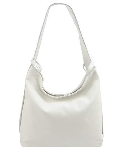 Freyday 2in1 Damen Handtasche Rucksack Designer Luxus Henkeltasche aus 100% Echtleder (Weiß)