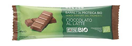 PROLIVE BIO, Barrette Proteiche cioccolato al Latte Bio, Croccante, 23% Proteine del Riso Bio, 100% Naturali e 100% Italiane, 12x40gr