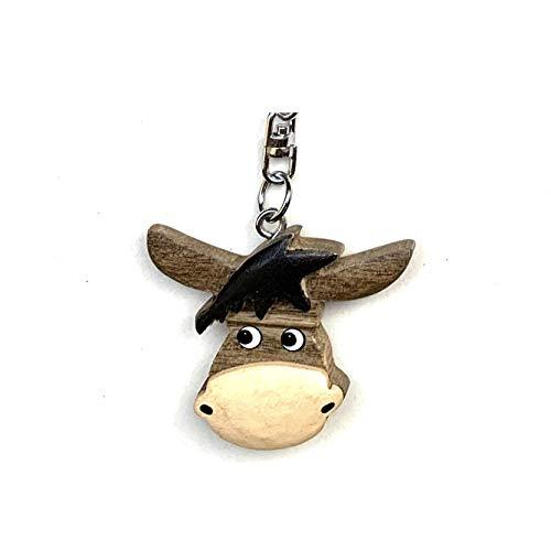 JA Horse handgemachte hölzerne Schlüsselanhänger Anhänger Tiere auf dem Bauernhof Schwein Kuh Schaf Hase (21 Eselkopf)