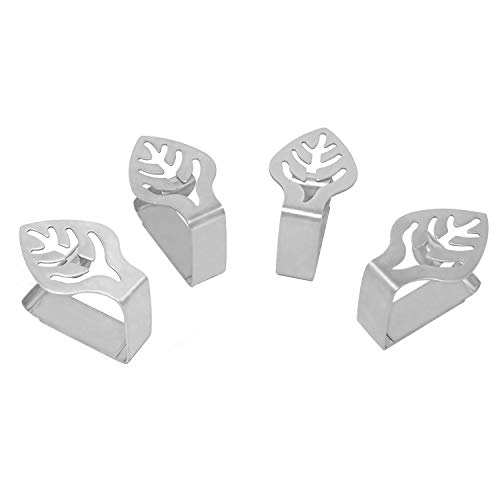 Honbay 4PCS Stainless Steel Silver Thickened Strong Cloth Clip ,Tablecloth Clamp Holder, Table Cover Clamps ,Table Cloth Holders, Table Cloth Clips Holders for Outdoor and Indoor