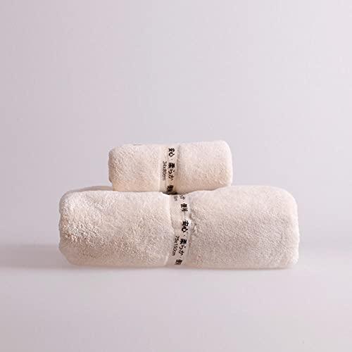 MQQM Juego de Toallas Azul,Coral Juego de Toallas de Terciopelo, de Secado rápido Toalla de baño Suave-Beige 2_1 Toalla + 1 Toalla de baño,Juego de 3 Toallas para el Baño