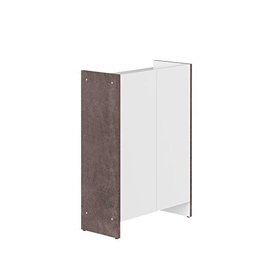 Contemporain Meuble Bas 2 Portes Béton/Blanc 60 x 28 x 89,5 cm, 6210A0621A00