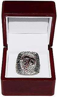 ATLANTA FALCONS (Matt Ryan) 2016 NFC WORLD CHAMPIONS (In Brotherhood) Super Bowl LI Rare Collectible Replica Silver NFL Football Championship Ring with Cherrywood Display Box