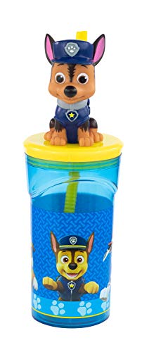 POS 29442 - Vaso con pajita y figura en 3D, diseño popular de la Patrulla Canina, capacidad aprox. 360 ml, de plástico sin BPA ni ftalatos, para niños y niñas