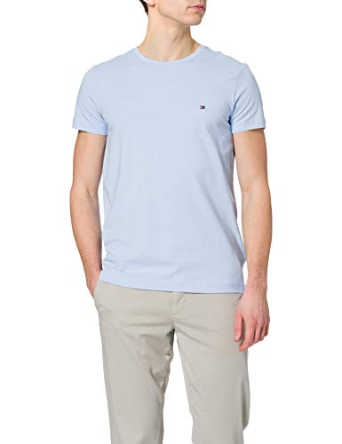 Tommy Hilfiger Herren Stretch Slim FIT Tee T-Shirt, Süßes Blau, M