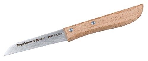 FACKELMANN NIROSTA Urgroßmutters Messer PRAKTIKA, Küchenmesser aus Edelstahl, Schälmesser mit Holzgriff (Farbe: Braun/Silber), Menge: 1 Stück