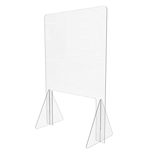 Sneeze Guard for Counter (24'W x 36'H), Freestanding Plexiglass Shield with Transaction Window, Portable Clear Acrylic Plastic Barrier for Countertops, Desk, Cashier, Manicurist [Made in USA]