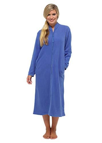 Undercover Damen-Bademantel aus weichem Fleece, mit Reißverschluss, Satinbesatz, Gr. 38-56, Rosa, Violett oder Blau Gr. 54, blau