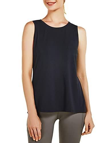 BALEAF Women's Sleeveless Tie Back Yoga Tank Tops Workout Running Shirts Quick Dry Black M