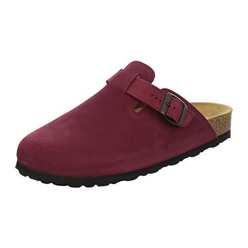 AFS-Schuhe 2900 Clogs Damen, Bequeme Hausschuhe, echt Leder (39 EU, Rot/Beere)