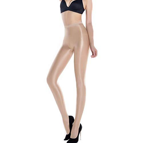 HTRUIYATY Collant Danza Di Seta Lucido Per Donna,70D Collant Modellanti Olio A Vita Alta Calze Donna Collant Fibra Alta Elasticizzata Compressione(Carne)