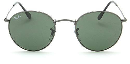 Ray-Ban RB3447 Round Metal Unisex Sunglasses (Matte Gunmetal Frame/Crystal Green Lens 029, 50)