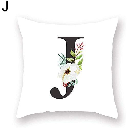 njia A-Z Großbuchstaben Blume Kissenbezug Sofa Taille Throw Kissenbezug Home Decor J
