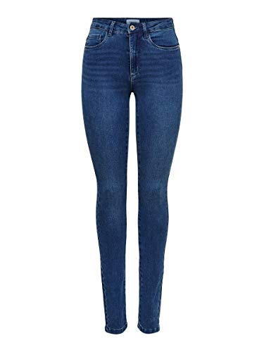 ONLY Onlroyal High Waist Skinny Jeans, Medium Blue Denim, 38W / 32L Donna