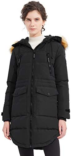 Orolay Women s Thickened Down Jacket Winter Coat Hooded Parka with Pockets Black 2XL product image