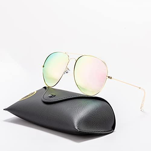SLAKF Gafas duraderas Gafas de Sol clásicas Ray Hombres Mujeres Conducción Transparente Polarizado Lente Bens Gafas de Sol Retro Marca Sunglasses UV Protección (Lenses Color : RA82)