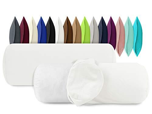 npluseins 2er Pack Baumwoll Kissenbezug - Jersey - viele Farben 1331.1812, ca. 40 x 15 cm, weiß