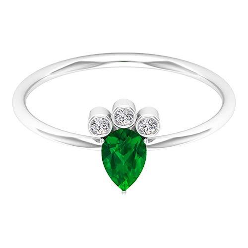 Women 1/2 CT Pear Shaped Emerald Certified Diamond Wedding Ring, Gold 46 MM Green May Birthstone Teardrop Ring, Bezel Set HI-SI Diamond Promise Rings, 14K White Gold, Size:UK H1/2