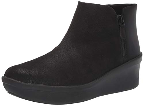 Clarks womens Step Rose Up Ankle Boot, Black Textile, 11 Wide US