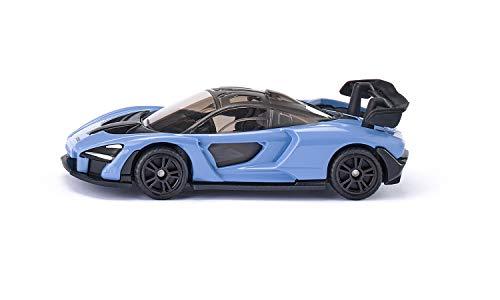 siku 1537, McLaren Senna Sportwagen, Metall/Kunststoff, Hellblau, Gummierte Reifen, Anhängerkupplung, Spielzeugauto für Kinder
