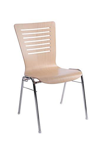 Design Holzschalen-Stuhl Buche Natur FSC-Zertifiziert B1 Stapelstuhl in Objektqualität 4 Stück