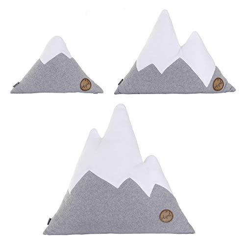 Idealer Pulverschnee 3er Set Kissen Kissenset Geschenkset Bergform Berg Dekokissen Zierkissen grau weiß Fleece (3er Set)