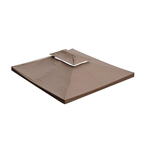 Homcom Toile de Rechange pour Pavillon Tonnelle Tente Polyester Haute Densité Imperméabilisé 180 g/m² 3 x 4 m Chocolat