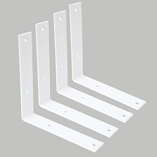 Shelf Brackets 8 Inch Heavy Duty White L Bracket Decorative Metal Brackets for Wall Shelves