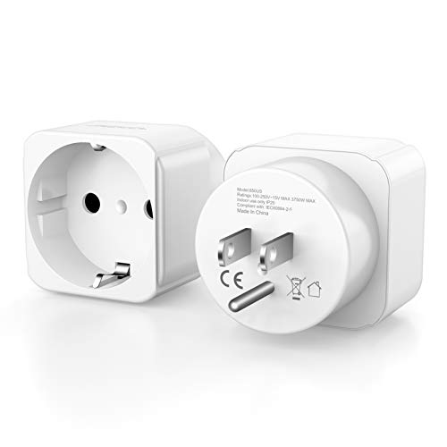 ZACTEK EU Europe to US USA Travel Plug Adapter Power Converter, American Outlet Plug Adapter, EU to US Converter [2 Packs] Delaware