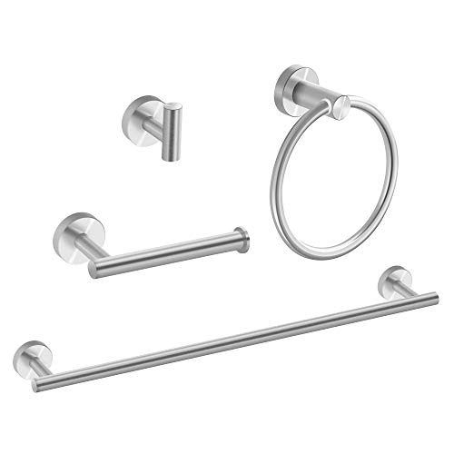 MARMOLUX ACC 4 Pieces Bathroom Hardware Set-Towel Hooks, Hand Towel Holder/Towel Ring, Toilet Paper Holder, Towel Bar Set SUS 304 Stainless Steel Wall Mount Brushed Nickel Bathroom Accessories