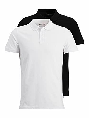 Jack & Jones JJEBASIC Polo pour Homme- Lot de 2, Noir/Blanc Pack, L