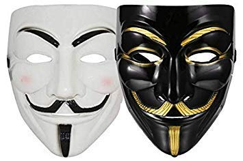 Sage Square Vendetta Comic FACE MASK Fawkes Mask Anonymous VIP Edition Face-Mask Perfect Fit Cosplay Protest V for Vendetta DC Comics (Black & White) (2 Pieces)