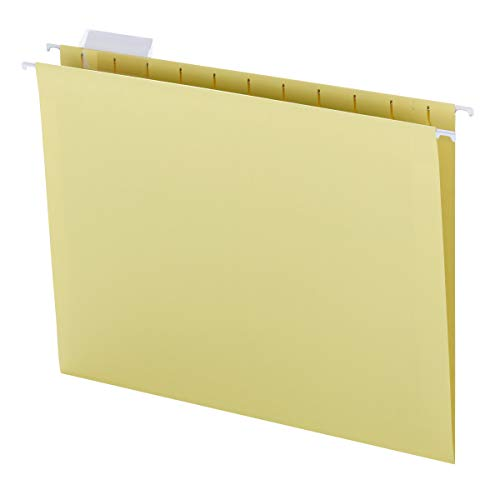 Smead Colored Hanging File Folder with Tab, 1/5-Cut Adjustable Tab, Letter Size, Yellow, 25 per Box (64069)