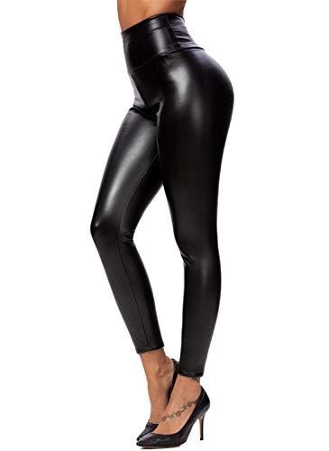 heekpek Leggings Simili Cuir Taille Haute Sexy Doublure de Polarire Brillant Effet Pantalon Femme Chaude Et Épaisse,M,Noir