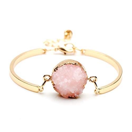 QIZDAN Mode Naturstein Perlen Druzy Armreifen Für Frauen Partei Schmuck Gold Farbe Quarz Kristall Charme Manschette Armband