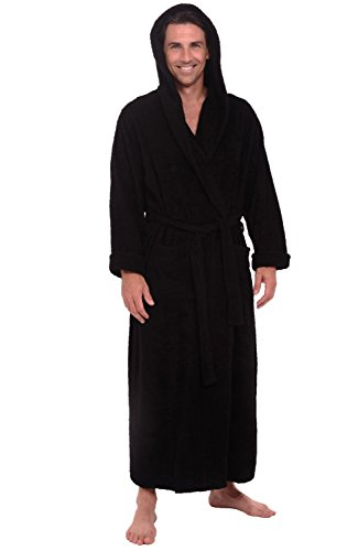 Alexander Del Rossa Mens Terry Cloth Cotton Robe with Hood, Big and Tall Bathrobe, 1XL 2XL Black (A0127BLK2X)