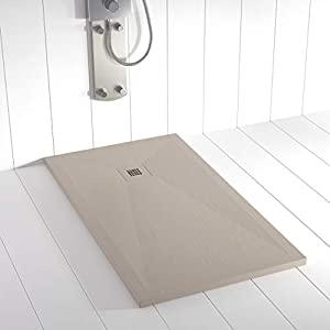 Shower Online Plato de ducha Resina PLES - 70x180 - Textura Pizarra - Antideslizante - Todas las medidas disponibles - Incluye Rejilla Color y Sifón - Arena S 3005 Y 50R