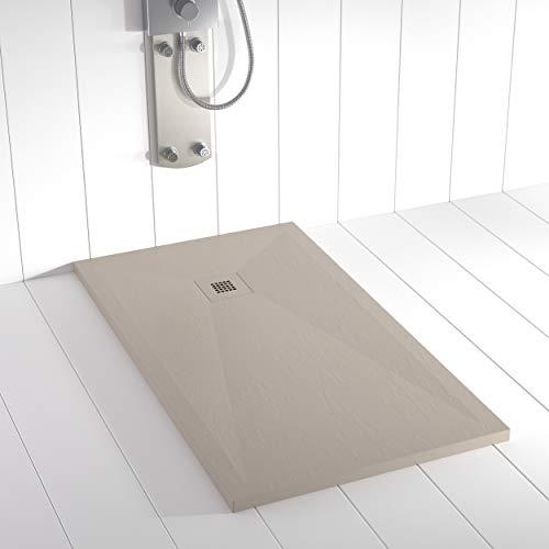 Shower Online Plato de ducha Resina PLES - 80x120 - Textura Pizarra - Antideslizante - Todas las medidas disponibles - Incluye Rejilla Color y Sifón - Arena S 3005 Y 50R