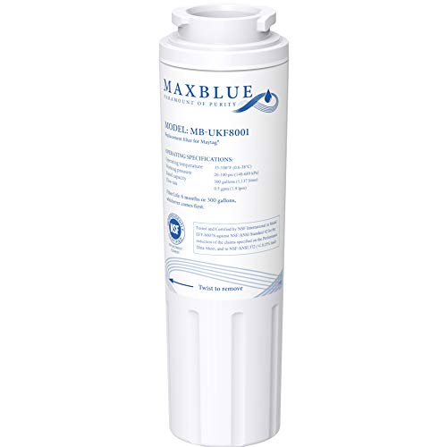 Maxblue UKF8001 Refrigerator Water Filter, Replacement for Maytag UKF8001P, Whirlpool EDR4RXD1, 4396395, EveryDrop Filter 4, Puriclean II, UKF8001AXX-200, package may vary