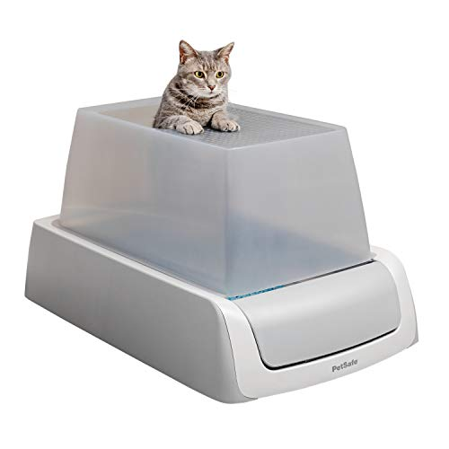 PetSafe ScoopFree Automatic Self Cleaning Hooded Cat Litter Box - Ultra, Top-Entry - Purple or Taupe - Covered 2nd Generation - Includes Disposable Tray with Premium Blue Crystal Litter and Hood
