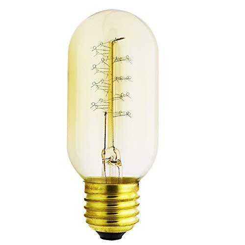 T45 Vintage Retro Edison Glühbirne Globe Glühlampe (40W, E27, 220V) Warmweiß Filament Fadenlampe Ideal für Nostalgie und Antik Beleuchtung (Typ: B)