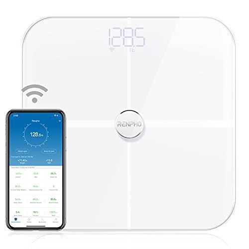 RENPHO Báscula digital de baño con Bluetooth inteligente y balanza de grasa corporal, báscula de baño digital inalámbrica, 13 mediciones, análisis de la composición corporal, ITO blanco