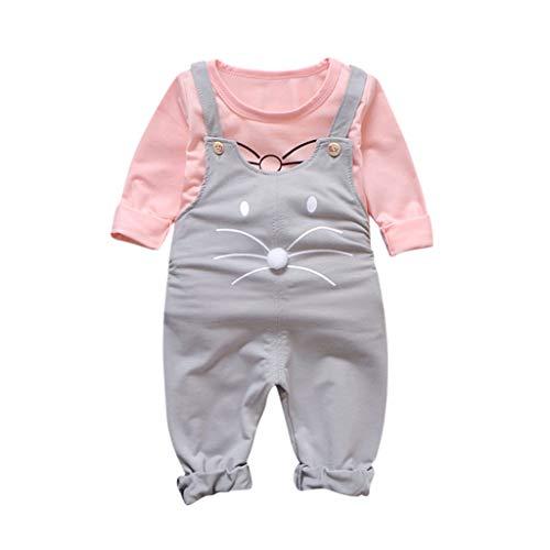 Julhold Peuter Kids Baby Meisje Leuke Casual Cartoon Losse Katoen T Shirt Overalls Suspender Broek Outfits Set 0-4 Jaar