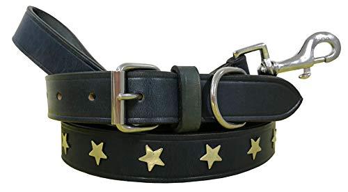 BRADLEY CROMPTON Carlos Diaz Zusammengehöriges Set Aus Gewachstem, Besticktem Polo-Hundehalsband Und Hundeleine, Echtes Leder S