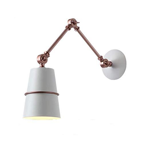 YLCJ Moderne metalen wandlamp minimalistisch instelbare flexibele arm bedlampje industriële stijl binnenverlichting wandlamp met metalen kap voor loft kantoor slaapkamer wit